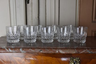 Suite of nine whisky glasses in crystal 20th century