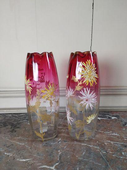 Paire de vase en verre XXe siècle  à fond...