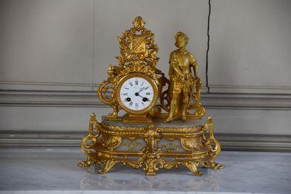 Pendule en bronze ciselé et doré, vers 1850...