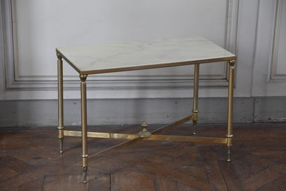 Louis XVI style chased bronze and gilt coffee table  White veined marble top  H....