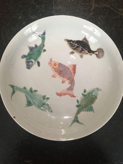 Chine, XIXe  Plat creux à décor de poissons...