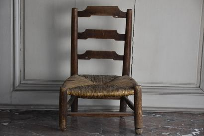 Set of two foot stools and a small child's chair, 19th century  H. 17 W. 46 D. 39...