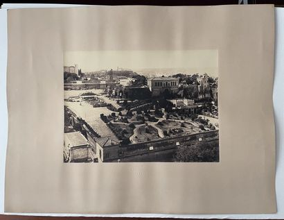 Giuseppe Ninci (1823-1890)  Les jardins Farnèse au Palatin, vus du haut du Campanile...
