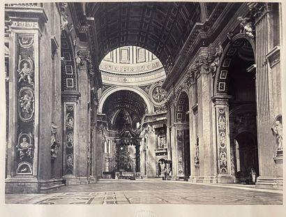 Giuseppe Ninci (1823-1890)  Place St Pierre de Rome, Intérieur de la basilique,...