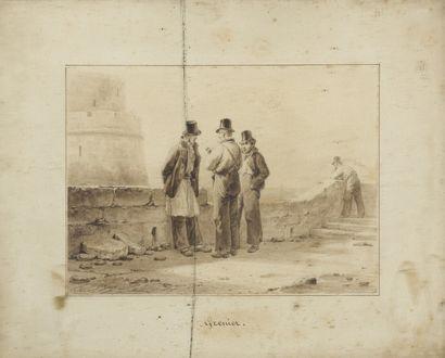GRENIER  Personnages au bord d'un mur  Lavis...