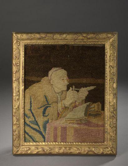 L'écrivain taillant sa plume  Rare tapisserie...