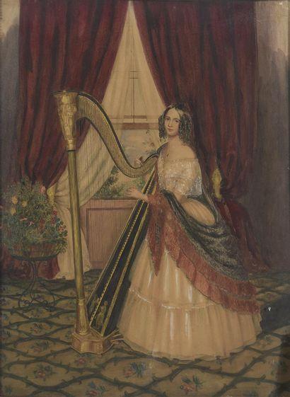 École française du XIXe siècle  Harpiste...