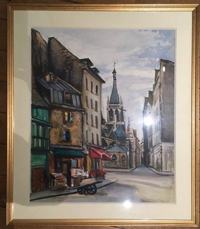 ROMERO  Deux aquarelles vues de Paris  58...