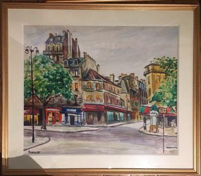 ROMERO  Deux aquarelles vues de Paris  54...