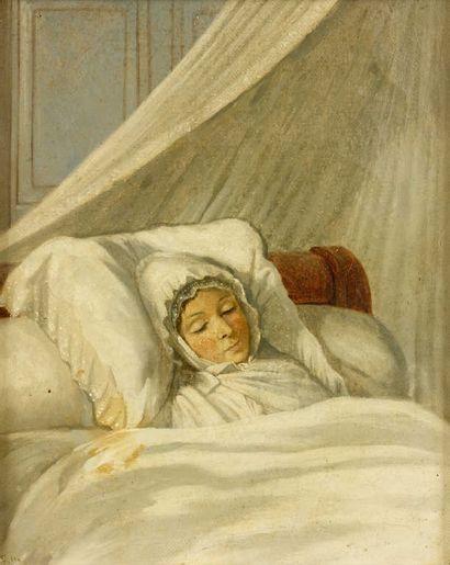 Ecole FRANCAISE vers 1840  Jeune femme endormie...