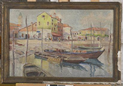 Louis Dauphin  Vue d'un port du midi  Aquarelle...