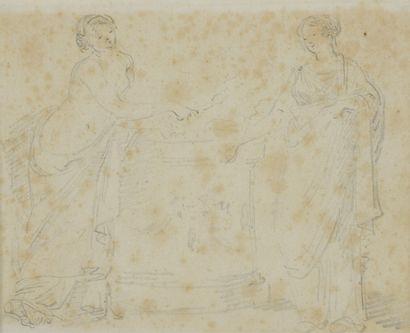 Hubert Robert (1733-1808)  Deux femmes drapées...