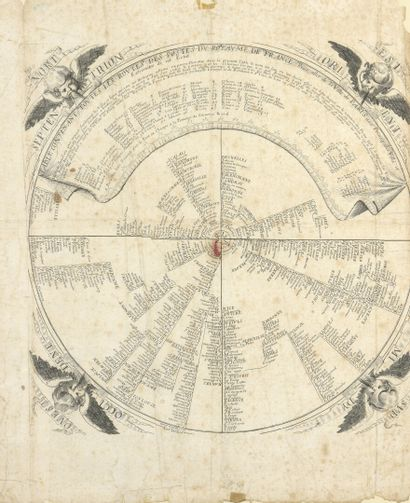 Carte des vents  Gravure encadrée du XVIIIe...