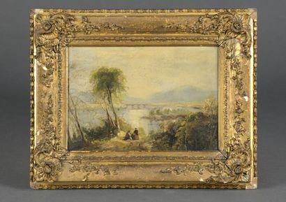 École anglaise du XIXe siècle  Paysage au...