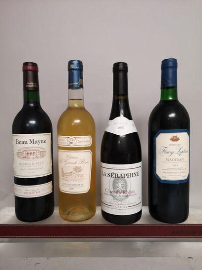4 bouteilles VINS DIVERS France comprenant...