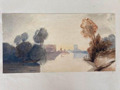 École Française du XIXe siècle École FRANÇAISE du XIXe siècle  Paysages  Quatre aquarelles...