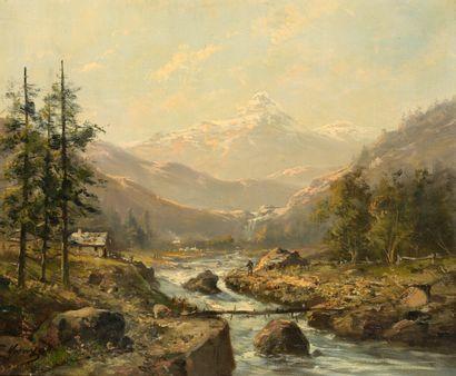 Ecole du XIXe siècle. École du XIXe siècle  Paysages de montagne  Paire d'huiles...