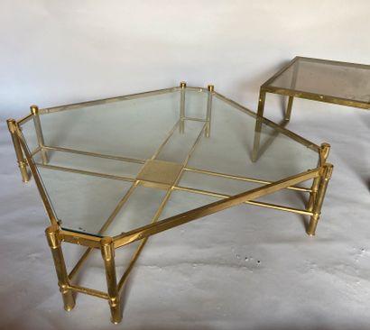 GRANDE TABLE BASSE & BOUT DE CANAPE, travail des années 80-90
