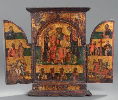 Triptyque Balkans, XVIIIe siècle Tempera...