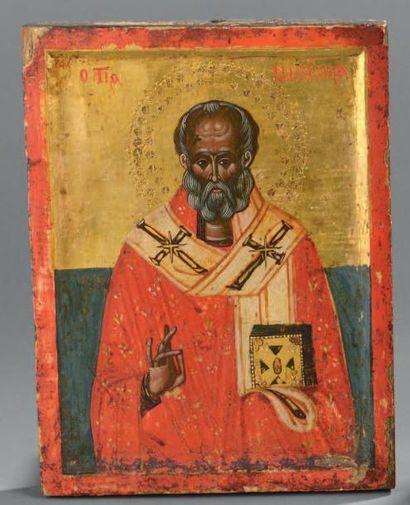 Saint Nicolas Grèce, XVIIIe siècle. Tempera...