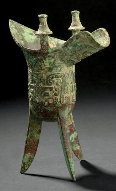 Verseuse tripode en bronze, jue. Chine, fin...