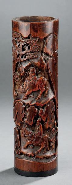 Porte-encens en bambou à décor sculpté ajouré de cavalier, enfant chevauchant un...