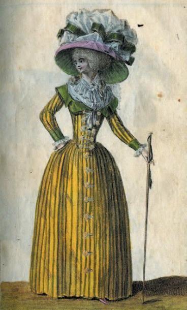 Manteau de robe à la française, époque Louis XVI, pékin crème et groseille à rayures...