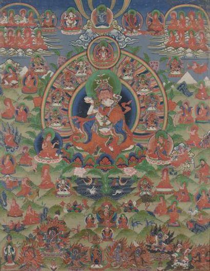 Thangka Tibet, XIXe siècle Représentant Vajrasattva...