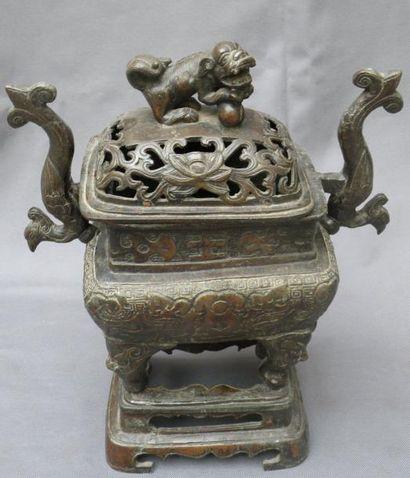 Brûle-parfum tétrapode en bronze Chine De...