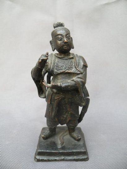 Statuette de gardien en bronze Chine, XVIIe...