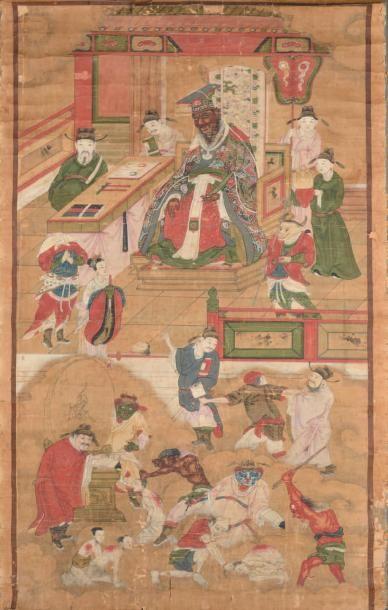 Peinture taoïste en rouleau à l'encre et...