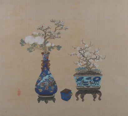Peinture à l'encre et couleurs sur soie Chine,...