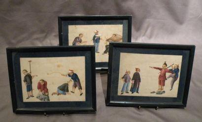 Lot de sept petites peintures encadrées Chine,...