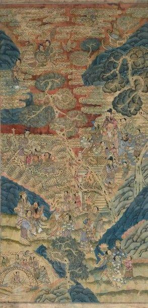 Grand panneau en soie tissée kesi Chine,...