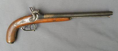 Long pistolet double à percussion. Canons...