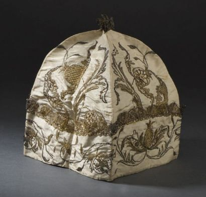 Bonnet d'intérieur d'homme, époque Régence,...