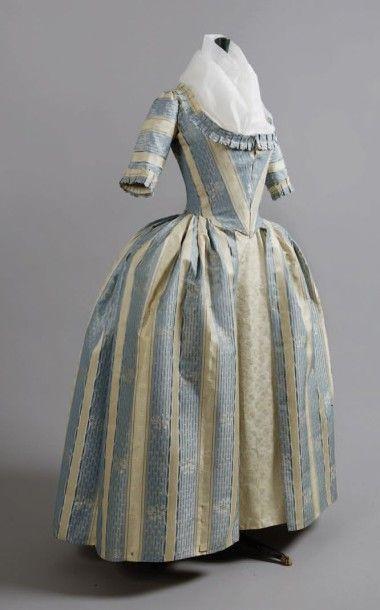 Robe à l'Anglaise, vers 1780-1785, pékin...