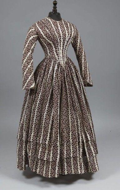Robe d'après-midi, vers 1845, en gaze quadrillée...