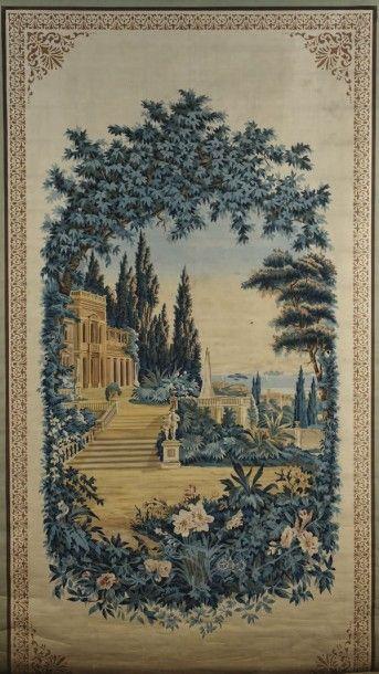 Store en toile imprimée, milieu du XIXe siècle,...