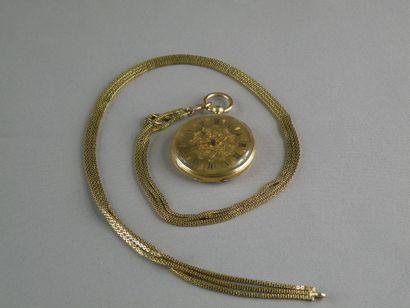 Montre de col et chaîne giletière en or jaune (750), la montre au fond gravé de...