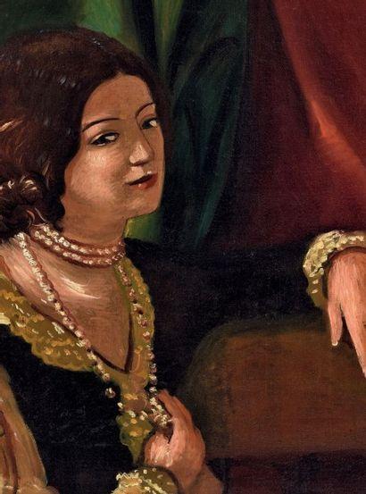 André DERAIN (1880-1954) Portrait d'une femme, Madame Van Leer Huile sur toile, signée...