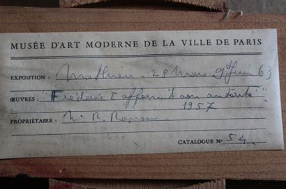 Georges MATHIEU (1921-2012) Frédéric Ier affermit son autorité Huile sur toile, signée...