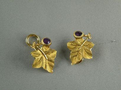 Paire de clips d'oreille en or jaune (750)...