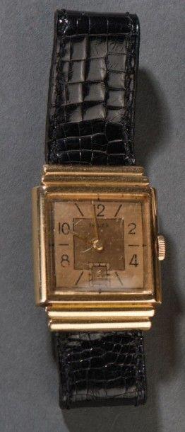 Montre-bracelet d'homme mécanique en or jaune...