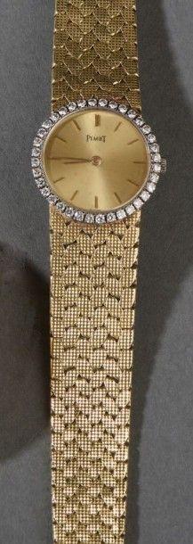Montre-bracelet de dame en or jaune (750)...