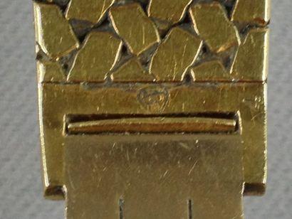 Montre-bracelet de dame en or jaune (750) à boîtier rond, cadran satiné, tour de...