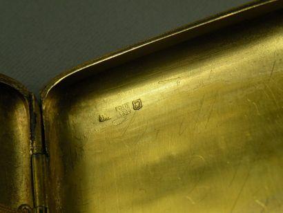 Étui à cigarettes rectangulaire en alliage d'or 14 ct (585) partiellement fileté...