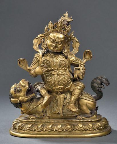 Statuette de Vaishravana en bronze doré Chine,...