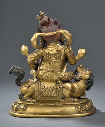 Statuette de Vaishravana en bronze doré Chine, dynastie Ging, XVIIIe siècle A gilt...