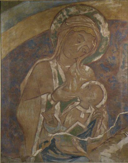 Vierge à l'enfant Tempera sur toile. 92 x...